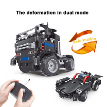New Roadblock Science And Technology Puzzle Building Blocks Four Channel Wireless Remote Control Vehicle Children Toy