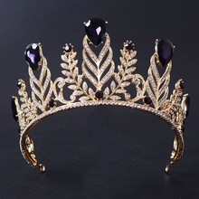 New Magnificent Violet Crystal Rhinestone Queen Tiara Fashion Big Diadem for Women Crown Wedding Dress Hair jewelry Accessories(China)
