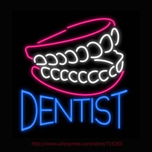 2017 Neon Sign Dentist Real Glass Tube Handcrafted neon signs Custom LOGO Neon Lamp Recreation BUSINESS Display ADVERTISE 24X24(China)