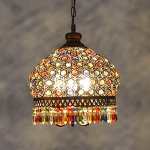 Bohemian chandelier Mediterranean style bedroom light warm retro color crystal chandelier southeast chandelier ZCL