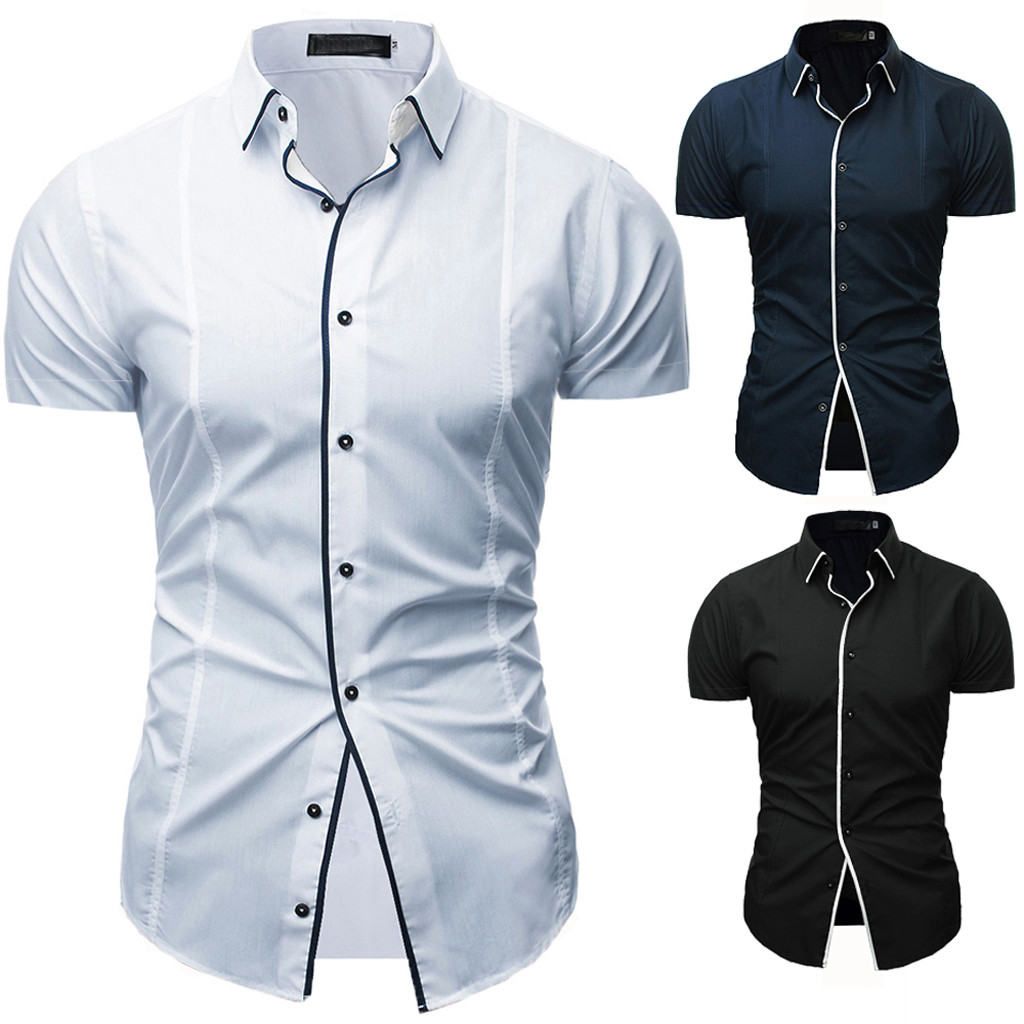 Mens Shirts Casual Slim Fit Man Shirts High Quality Men's Solid Casual Button Down Short Sleeve Shirt Top Blouse camisas