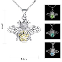Luminous Bee Necklace Fluorescent Stone Hollow Locket Cage For Women Night Light [NS] SL