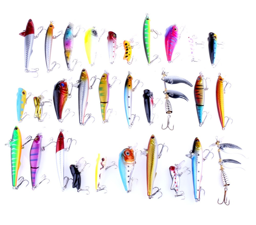 30 pieces lure kit pencil Multi-section fish Rock locusts sequins slice Minnow popper Integrated bait fish gear tackle carp lure(China)