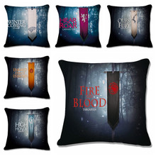 18'' Square Game of Thrones Cotton Linen Decorative Cushion Cover Sofa Throw Pillow Cover Chair Car Pillow Case Customized