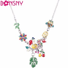 Buy Bonsny Enamel Bird Cherry leaf Maxi Necklace Women Pendant Statement Choker Chain Collar 2017 New Jewelry Women Bijoux Gifts for $6.75 in AliExpress store