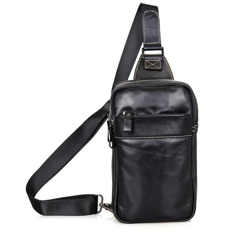 JMD Real Cow Leather Mens Chest Bags Black Sling Bag For Boys Backpacks Popular Satchels 4002-<br>