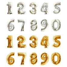 16 Inches 35CM Trumpet Aluminum Arabic Numerals 0-9 Balloons Party Decoration Gold And Silver Aluminum Foil Balloons CYDF021(China)