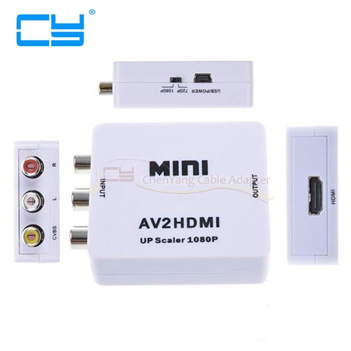 Composite AV CVBS 3RCA to HDMI Video Converter Mini Adapter 720p 1080p Upscaler AV to HDMI Adapter<br>