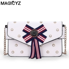 MAGICYZ New Arrival striped bowknot Crossbody Bags summer simple mobile phone small square bag pearl mosaic Women Shoulder Bag