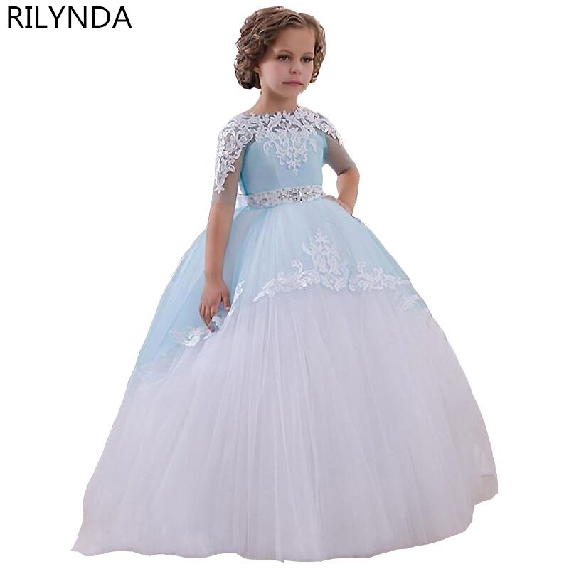 Pageant Dresses for Little Girls Lace Appliques Half Sleeves Beading Belt Open V Back Floor Length Ruffle Tulle Ball Gowns 0-14Y<br><br>Aliexpress