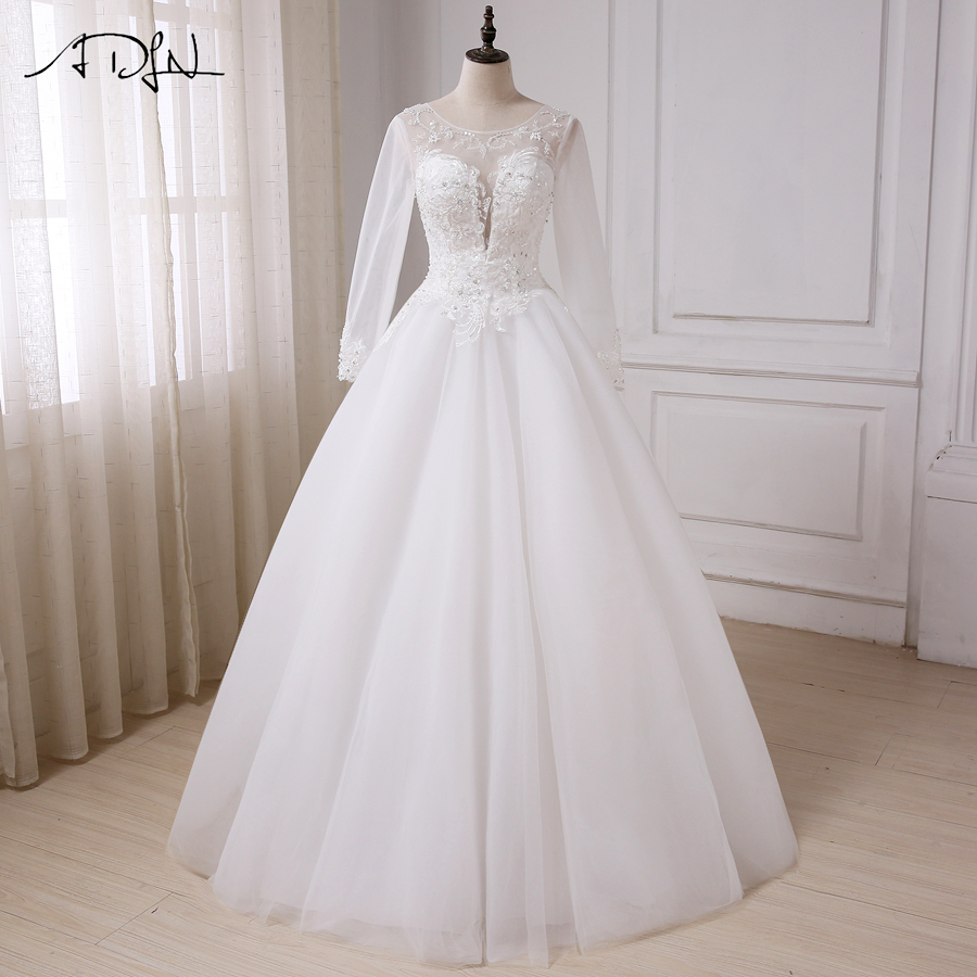 ADLN Long Sleeves Scoop Neck Wedding Dresses Sexy Cheap Women Applique Beads Tulle A-line Wedding Gowns Robe De Mariage