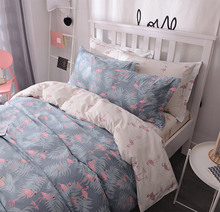 Cute cartoon flamingo single double bedding set teen child,cotton twin full queen home textile bedsheet pillow case quilt cover