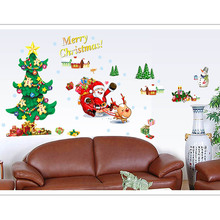 Chrismas Santa Claus DIY Wall Stickers Windows Room Removable Decoration
