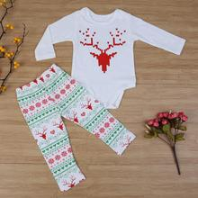 Autumn Baby Boys Girls Clothes Sets Christmas Baby Elk Deer Snowflake Heart Print Top Shirt + Pants 2 PCS Infant Clothing(China)