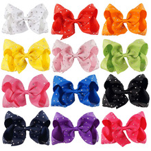 "Buy 6pcs/lot 5""Solid Grosgrain Ribbon Rhinestone Bow Clip Kids Handmade Boutique Crystal Hairgrips Girl Hair Accessories for $7.71 in AliExpress store"