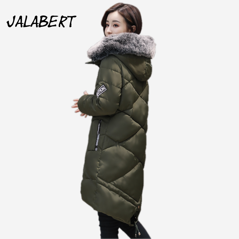 2017 New Womens winter coats long Slim printing thickening cotton jacket Female Big Fur collar Hooded Solid color overdress Îäåæäà è àêñåññóàðû<br><br>