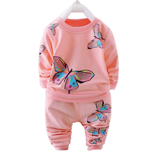 Baby Girls Clothes Autumn Winter Sport Suit Long Sleeve Heart Print T-shirt+Pant 2pcs Set Girls Outfit Kids Infant Clothing(China)