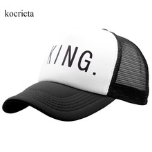 King Queen Trucker  Cap for Men and Women  Lover Baseball Caps  White and Black Adjustable Mesh  Hats