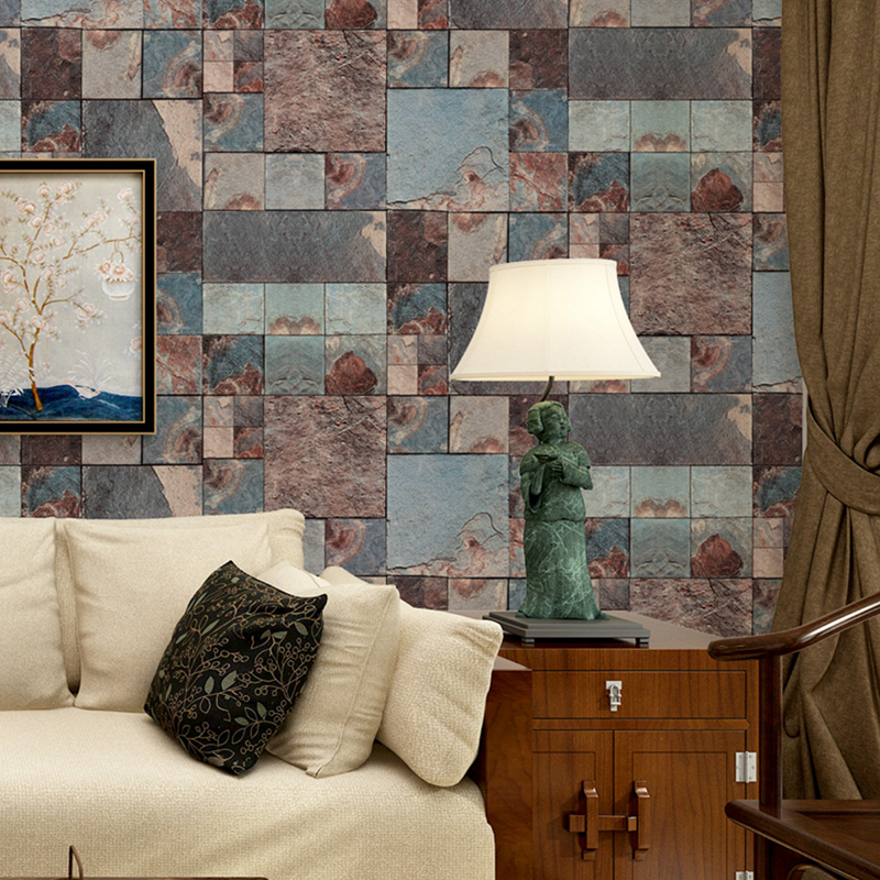 Retro Nostalgia 3D Brick Pattern Wallpaper Waterproof PVC Embossed Wall Paper Rolls Home Decor Living Room Kitchen Wallcoverings<br>
