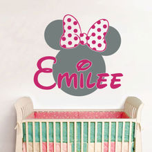 Personalized Name Minnie Mouse Vinyl Wall Stickers Baby Wall Decals Hot Pink Wall Stickers For Kids Room Girl Bedroom D679(China)