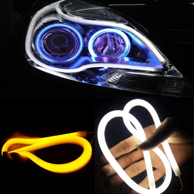 2PC/Lot 30cm 45cm 60cm DRL Flexible LED Tube Strip Daytime Running Lights Turn Signal Angel Eyes Car Styling White/Yellow/Blue(China (Mainland))