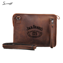 Genuine Leather ipad Bag Laser engraved Crossbody Bag for Notebook Computer jack daniels old NO. 7 Leather Messenger Bag(China)