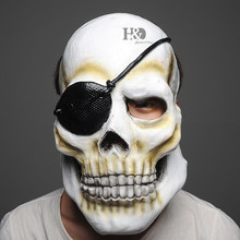 Latex Scary Terrible Pirate Skull Full Mask One-eyed Ghost Adult Party Mask Halloween Props Masquerade Fancy Dress Costume Decor(China)