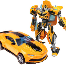 Cool Boy Toys Anime Action Figure Toy Transformation 4 Robot Car ABS Plastic Cool juguetes Model 18cm Bumblebeed 33007-2 in box(China)