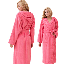 Hooded Toweled bathrobes cotton robe lady women robe autumn and winter waste-absorbing thick soft bathrobe(China)