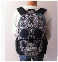 VILEAD Human Skeleton Outdoor Backpack Personality for Travel and GYM Nylon Print Skull Ghost Head Design Bag