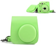 For Fujifilm Instax Mini 9 Mini 8 Instant Film Photo Camera Lime Green Carrying PU Leather Bag Case Cover with Shoulder Strap(Hong Kong)