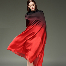 Oversizes Black/Red Shadow Silk Satin Women's Silkworm Fine Large Size Scarf Shawl New Fashion Shawl Sunscreen Scarves 122801