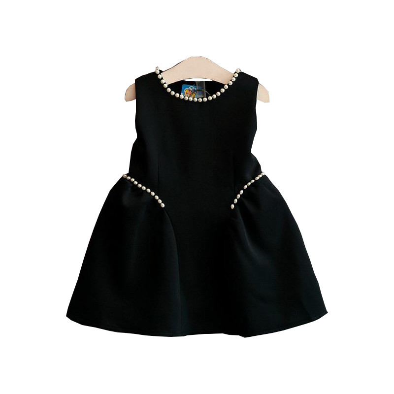 Toddler Children Clothing 2016 Fashion Black Sleeveless Flower Girls Dresses For Party And Wedding Girls Princess Dress 2-7Years<br><br>Aliexpress