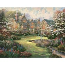 Hand painted Modern oil paintings Garden Manor Landscape art pictures on canvas for wall decor High quality(China)