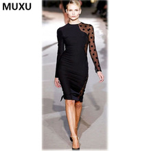 Buy MUXU new sexy bodycon long sleeve dress mesh patchwork black lace dress womens clothing club party ladies womens clothing 2017 for $17.43 in AliExpress store