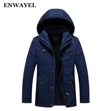 ENWAYEL Winter Big Size 5XL 6XL Cotton Male Jacket Men Parka Thick Warm Hooded Casual Wadded Outerwear Hood Padded Quilted Coat(China)