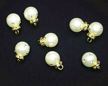 10mm 12mm 15mm round pearl diamond hanging clothes bags shoes exquisite decorative buckle button 30pcs/lot