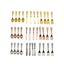 INJORA 12PCS 1:12 Dollhouse Miniature Accessories Fork Knife Soup Spoon Tableware Simulation Kitchen Food Furniture Toys