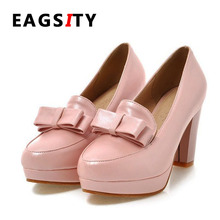 Women high heel lady dress shoes wedding shoes dancing party pumps platform office bowtie career Mary janes shoes