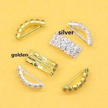 20mm 10Pcs/set Arched Rhinestone Buckles Diamond Buttons  Plated Square Invited to the Wedding Ribbon Slider, free shipping