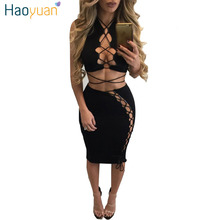 HAOYUAN 2017 New Spring Summer Bodycon Bandage Dress Black Hollow Out Two Piece Set Sexy Dresses Party Night Club Dress Vestidos