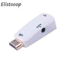 Elistooop Male to Female for HDMI to VGA Converter With Audio Cable for PC Laptop Tablet Support 1080P HDTV Adapter(China)