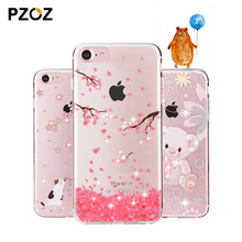 pzoz for iphone 7 case cartoon clear 3d glitter bling for apple iphone 7 plus cases girls rhinestone silicone transparent flower