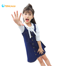 girls dress cotton Denim suspenders dres 4-13 years old College wind Breach all match girls party princess dress Navy style(China)