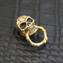 (C06) 3pc Solid Brass concho Slide-Skull-O-Ring Wallet Chain Connector Joint part Polish w/ black-eye Leathercraft