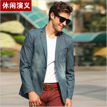 Mens Blazers New Arrivals 2017 Fashion Men'S Denim Blazer Mens Blazer Jacket Maillot Homme Blazer Masculino Slim Fit A2174