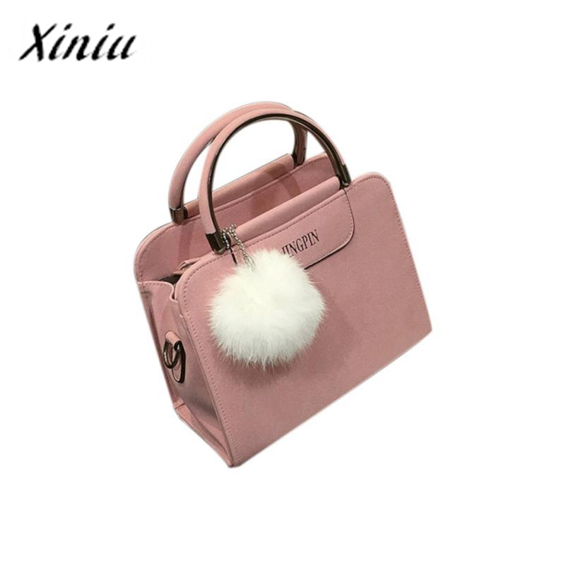 Xiniu Women Messenger Bags Scrub Handbag Puffer Ball Tassel Tote Bag Women Solid Handbags Bolsas Feminina #1128<br><br>Aliexpress