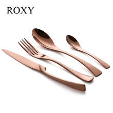 4Pcs/set Rose Gold Cutlery Set Stainless Steel Western Food Tableware Sets Fork Knife Dinnerware Set Drop Shipping(China)