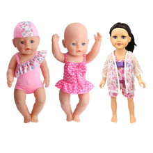 "Summer Set For 18"" American Girl Doll Bikini + Cap Summer Swimming Suit With Hat also Fit for 43cm Baby Born Doll Clothes(China)"