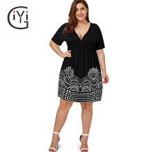 Buy GIYI Plus Size 5XL Low Cut Empire Waist Print Line Dress Women Summer 2017 Big Size V Neck Boho Beach Loose Midi Dress Black for $15.14 in AliExpress store